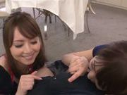 Frisky babes Akiha Yoshizawa and Saki Kouzai tag team a cock