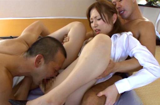 Kinky small-tittied chick Miu Fujisawa fucks with two guys