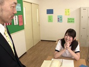 Sporty Japanese schoolgirl Akane Azusa enjoys threesome banging