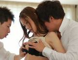 Young Asian Miu Nagino gets nailed in threesome picture 13