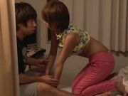 Short-haired Japanese milf gets screwed by horny guy