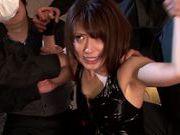 Exquisite Asian babe Saki Kouzai in latex costume rides cocks