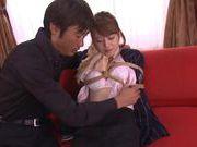 Pretty chick Akiho Yoshizawa enjoying some group sex
