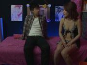 Petite Japanese amateur in sexy lingerie bounces on dick