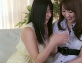 Frisky Asian lesbian gals Yui Hatano, Ai Uehara finger pussies picture 14