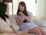 Frisky Asian lesbian gals Yui Hatano, Ai Uehara finger pussies picture 3
