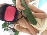 Izumi Yamaguchi Naughty Asian babe Masturbates With Vegetables picture 12
