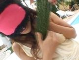 Izumi Yamaguchi Naughty Asian babe Masturbates With Vegetables picture 13