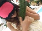 Izumi Yamaguchi Naughty Asian babe Masturbates With Vegetables