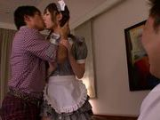 Pigtailed Asian maid Tsubasa Amami gets plowed by horny dudes