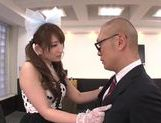 Beautiufl Yui in sexy suit giving a very sexy handjob right here picture 14