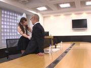 Beautiufl Yui in sexy suit giving a very sexy handjob right here