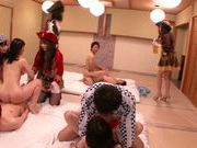 Double blowjob by Yui Hatano in wild Asian orgy