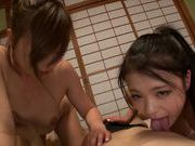 Hand work by Hibiki Otsuki and horny teen friend