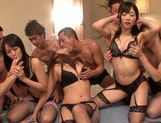 Wild orgy with horny babe Haruki Satou and horny friends picture 1