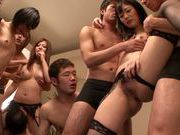 Wild orgy with horny babe Haruki Satou and horny friends
