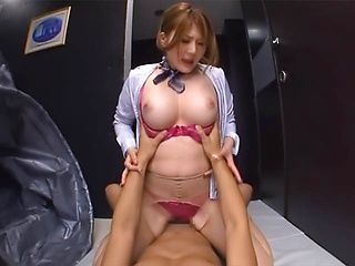 Steamy and busty Asian sex doll Momoka Nishina rides hard boner