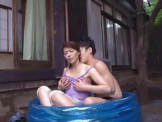 Small-tittied milf Hisae Yabe deepthroats her young lover