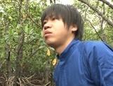 Alluring Japanese mature lady Mizuki Ann sucks cock in a forest