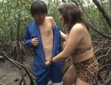 Alluring Japanese mature lady Mizuki Ann sucks cock in a forest picture 8