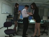 Kinky Asian office ladies tease their horny colleague share hos cock picture 7