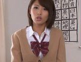 Schoolgirl Yuuki Natsume shows us upskirt and sucks cock picture 8