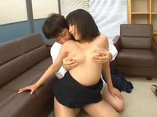 Japanese AV Model is an office lady pleasing two guys