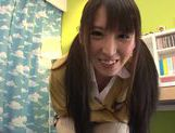 Spicy Japanese teen model Yuuki Itano engulfs cock and swallows