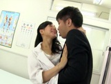 Naughty Japanese nurse gives hot head fucking and rear fuck