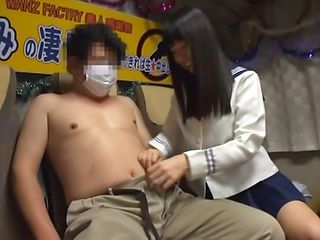 Hot bang-up babe Tsubomi gives a random guy a perfect hand job