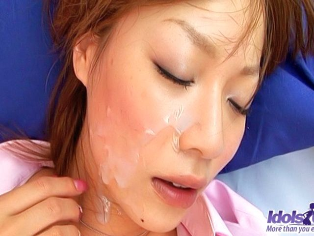 Ayame Sakura Pretty Asian model gives a great blow job and takes a hard ride on boyfriend??s cock