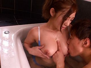 Busty Asian milf Minori Hatsune enjoys being soaped and fucked