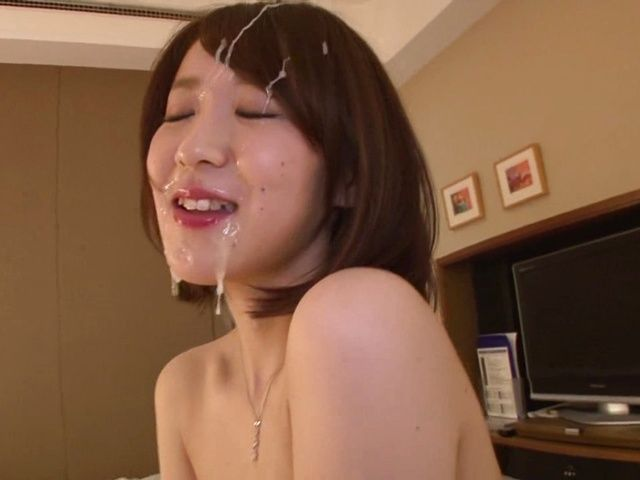 Stunning housewife Nozomi Hara sucks cock gets a facial