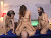 Consummate Asian girl Rina Rukawa pleases three old nasty dudes
