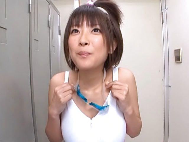AV babe in swimsuit Yuzu Ogura gives a titfuck POV