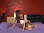 Sweet Japanese babe with enhanced titsTsubasa Amami bounces on dick