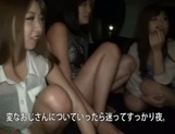 Lusty Asian teens get fucked in rough group action
