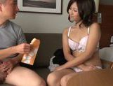 Adorable Japanese AV model with small tits makes a handwork picture 10