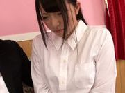 Hot teen with big breasts Ami Tokita sucks and rides cock