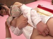 Hot teen with big breasts Ami Tokita sucks and rides cockasian schoolgirl, asian pussy}