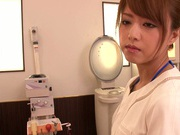 Skillful Asian nurse Akiho Yoshizawa gives amazing cock treatment