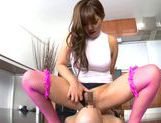 Superb Yu Sakra loves riding and sucking