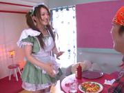 Sexy Asian maid Yui Sasaki deepthroats her boss