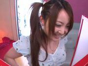 Sexy Asian maid Yui Sasaki deepthroats her boss