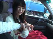 Kinky Arina Sakira enjoys sucking cock in car