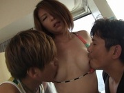 Sexy looking Asian milf Hitomi Katase in a cool threesome actionasian women, fucking asian}
