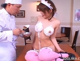 Saki Tsuji Asian waitress is turned into a cream cake picture 12