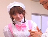 Saki Tsuji Asian waitress is turned into a cream cake picture 1