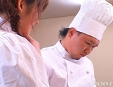 Saki Tsuji Asian waitress is turned into a cream cake picture 4