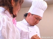 Saki Tsuji Asian waitress is turned into a cream cake